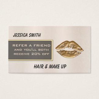 Empfehlungskarte Luxusbrihgt Rose Chic-Goldlippen Visitenkarten