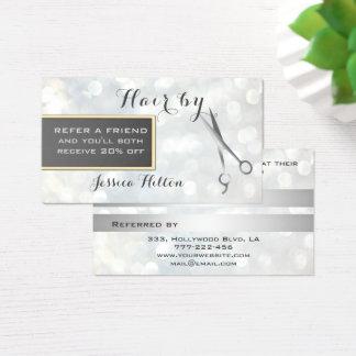 Empfehlungskarte schicke bokeh Silberscheren Visitenkarten