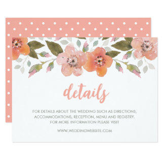 Empfindliche Blumenpfirsich-Hochzeits-Details Karte