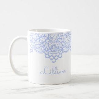 Empfindliche hellblaue Spitze Kaffeetasse