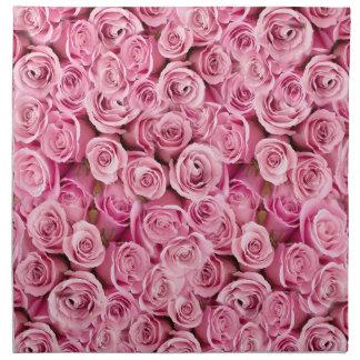 Empfindliche rosa Rosen-BlumenFoto-Muster Stoffserviette