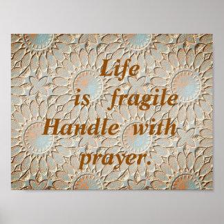 Empfindliches Leben-Gebet Poster