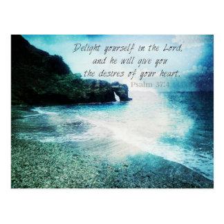Emporhebendes inspirierend Bibel-Vers-Psalm-37:4 Postkarte