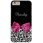 Empreinte de léopard rose foncé vivace de mode de coque iPhone 6 plus barely there