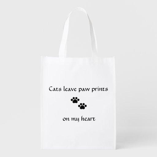 Empreintes de pattes de congé de chats sac réutilisable d'épcierie