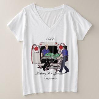 Ems-Notärztliche Bemühungen, die unterscheiden Große Größe V-Ausschnitt T-Shirt