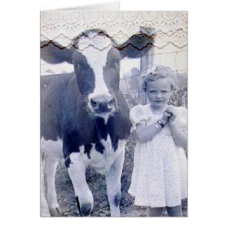 Enfant vintage et vache carte de vœux