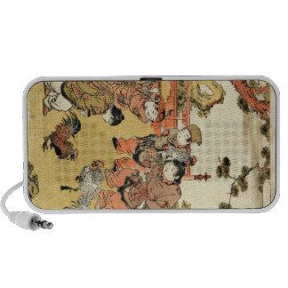 Enfants japonais et coq d'ukiyo-e vintage frais haut-parleur notebook
