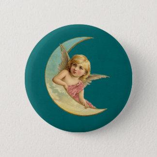 Engel auf einem Vintagen Bild des sichelförmigen Runder Button 5,7 Cm