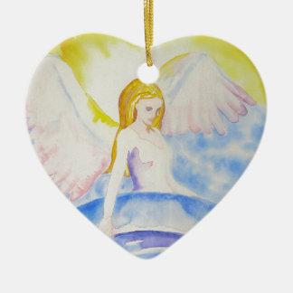 Engel, der die Planeten-Herz-Verzierung heilt Keramik Ornament