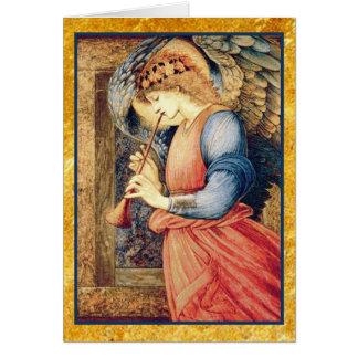 Engel, der ein Flageolett-Weihnachten spielt Karte