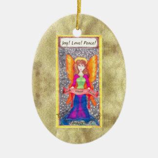 Engel der ErdWeihnachten-Sonnenwende Ovales Keramik Ornament
