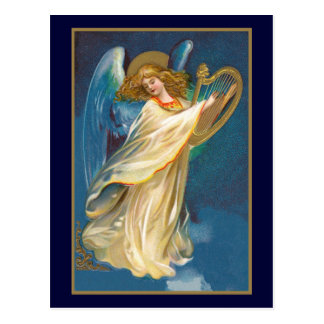 Engel, der Harfe spielt Postkarte