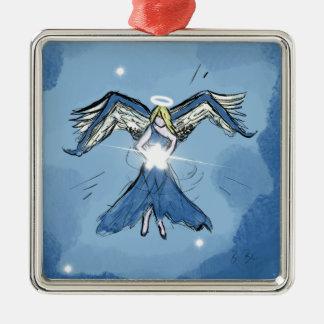 Engel, der Sterne macht Silbernes Ornament