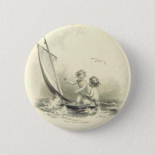 Engel - Engel auf dem Wasser-Stich Runder Button 5,7 Cm