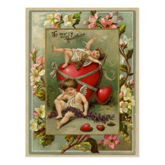 Engel-Engel und Herz-Vintage Wiedergabe Postkarte