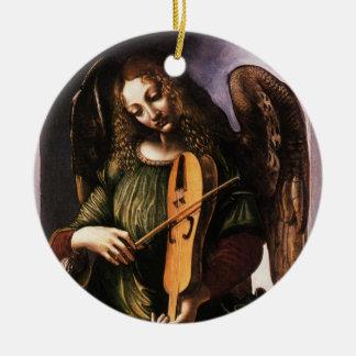 Engel im Grün mit einem Vielle durch Leonardo da Rundes Keramik Ornament