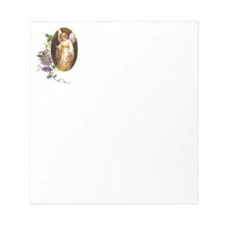 Engel mit Harfen-und Clematis-Blumen Notizblock