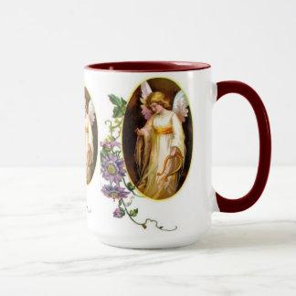 Engel mit Harfen-und Clematis-Blumen Tasse