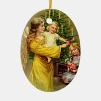 Engel mit Kindern und Baum Ovales Keramik Ornament
