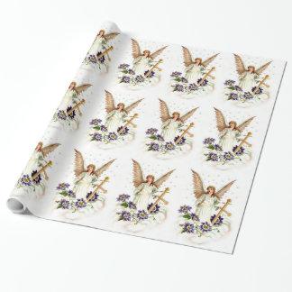 Engel mit Kreuz-und Clematis-Blumen Einpackpapier