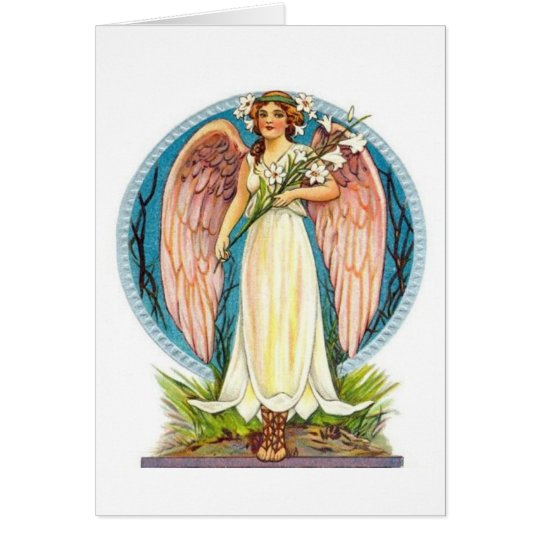 Engel mit Lilly Blumen Grußkarte