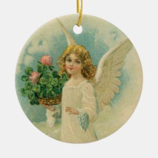 Engel mit vier Blatt-Klee-Keramik-Kunst-Verzierung Keramik Ornament