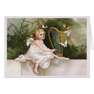Engel und Harfen-Vintage Illustration Karte