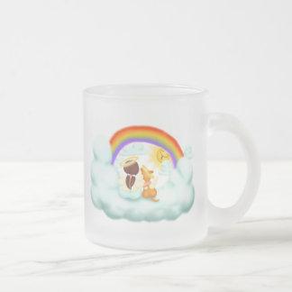 Engel und Hund Matte Glastasse