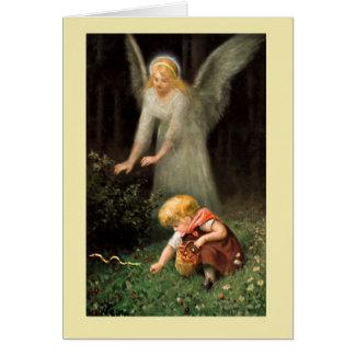 Engel und Mädchen im Wald, H Gitter Karte