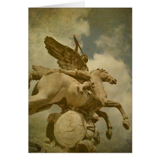 Engel und Pferdestatue Grußkarte