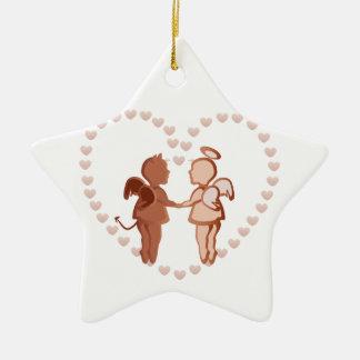Engel und Teufel, die Hände halten Keramik Stern-Ornament