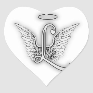 Engels-Alphabet L Anfangsbuchstabe Wings Halo Herz-Aufkleber