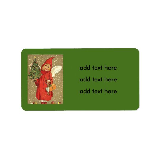 Engels-Engel-Weihnachtsbaum-Schnee Adressaufkleber