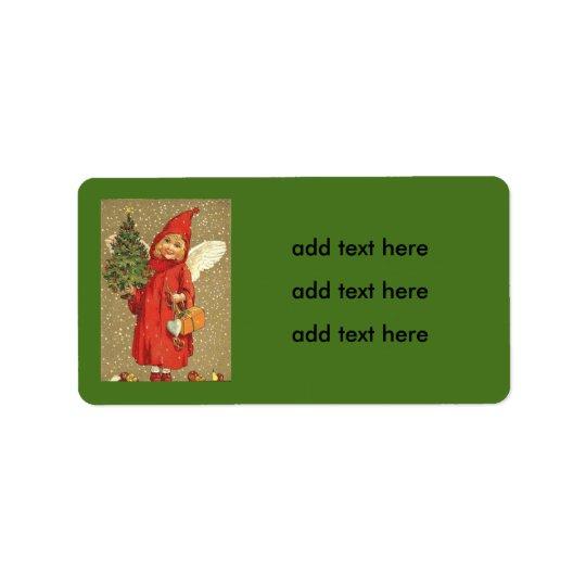 Engels-Engel-Weihnachtsbaum-Schnee Adressetikett