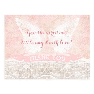 Engels-Flügel danken Ihnen, Taufe-Babyparty zu Postkarte