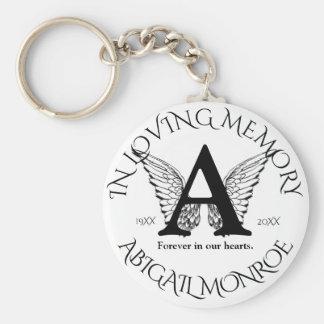 Engels-Flügel des Monogramm-| des Denkmal-| Standard Runder Schlüsselanhänger