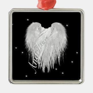 """ENGELS-FLÜGEL """"glauben"""" Herz-schwarzes Silbernes Ornament"""