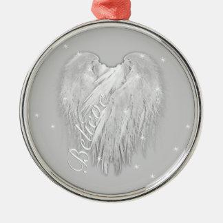 """ENGELS-FLÜGEL """"glauben"""" Herz-sternenklarem Schein Silbernes Ornament"""