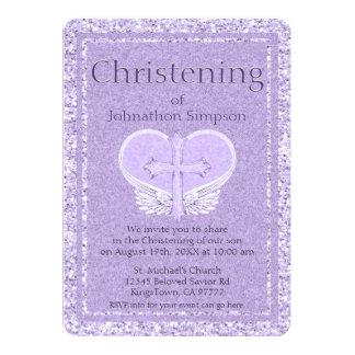 Engels-Flügel-Lavendel-Herz der Taufe-| 12,7 X 17,8 Cm Einladungskarte