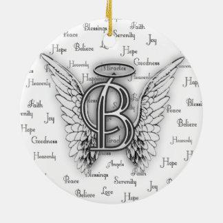 Engels-Flügel mit Positiv fasst Monogramm B ab Keramik Ornament