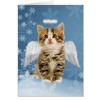 Engels-Kätzchen-Weihnachtskarte Karte