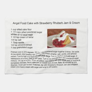 Engels-Nahrungsmittelkuchen mit Erdbeerrhabarber Handtuch