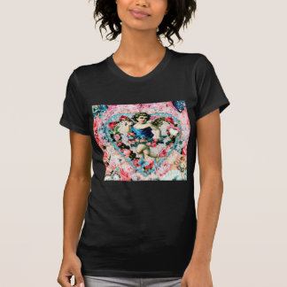 Engels-rosa Rosen-Vintages viktorianisches T-Shirt