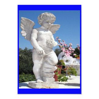 Engels-Statue im Blau 12,7 X 17,8 Cm Einladungskarte