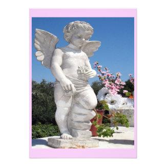 Engels-Statue im Rosa Personalisierte Ankündigungskarte