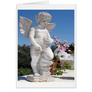 Engels-Statue im Weiß Grußkarte