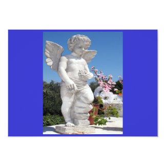 Engels-Statue in Blau I 12,7 X 17,8 Cm Einladungskarte