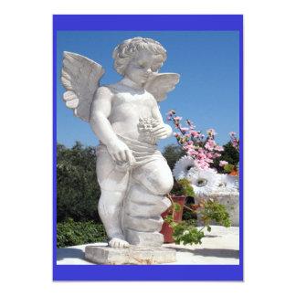 Engels-Statue in Blauem und in weißem 12,7 X 17,8 Cm Einladungskarte