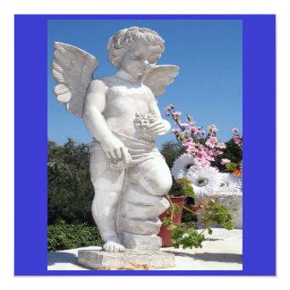 Engels-Statue in blauem und weißem V Quadratische 13,3 Cm Einladungskarte